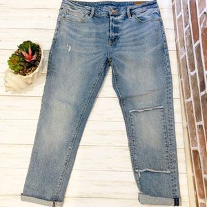 ASOS mens distressed patched skinny crop jeans 34